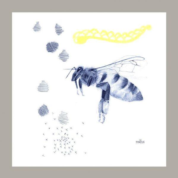 Serviette le Pompon motif abeille chérie