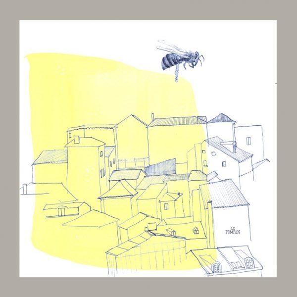 Serviette le Pompon motif l'abeille et la ville